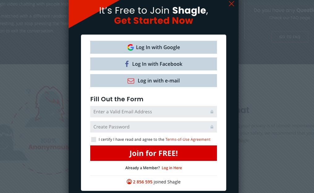 Shagle create account